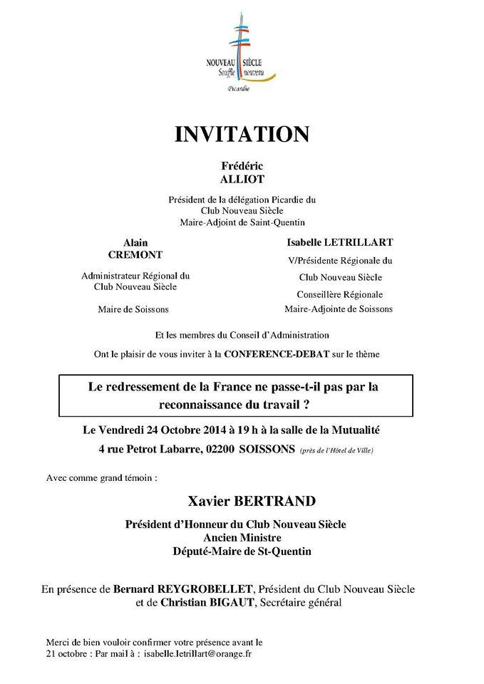 Invitation Délégation Club Nouveau Siecle Picardie 24 oct 2014