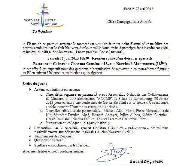 Convoc Conseil National CNS 22 juin 2013