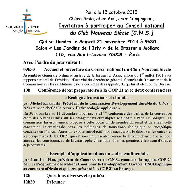 Conseil National du 21 novembre 2015 CNS